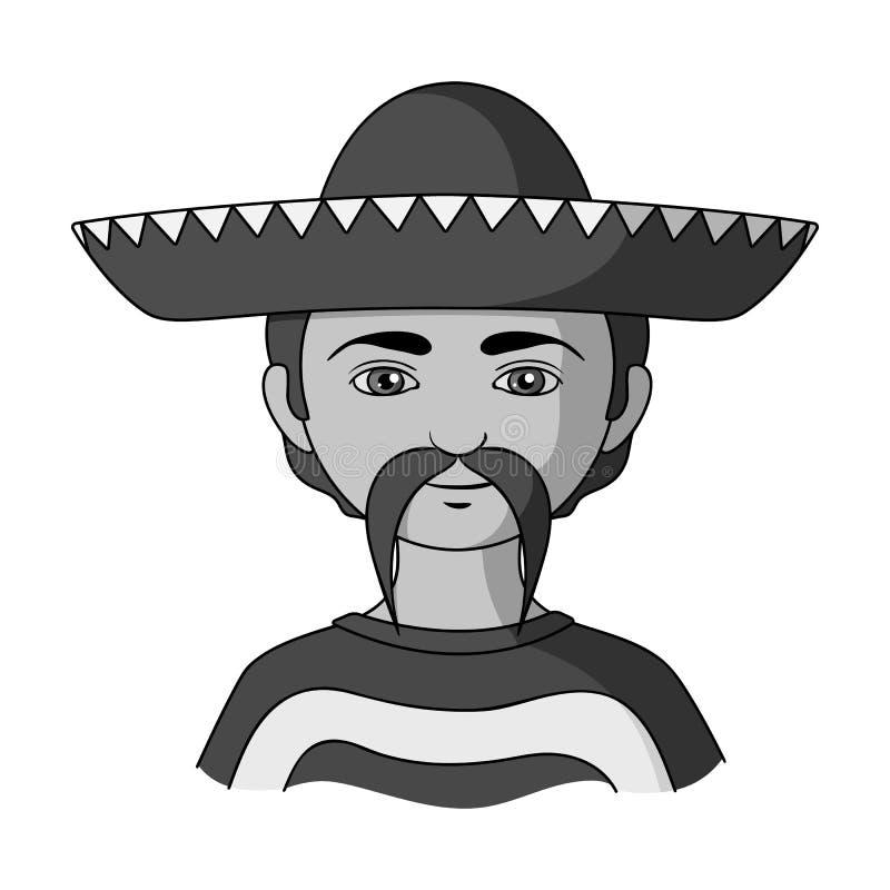 mexikanisch Einzelne Ikone der menschlichen Rasse im einfarbigen Artvektorsymbolvorrat-Illustrationsnetz stock abbildung
