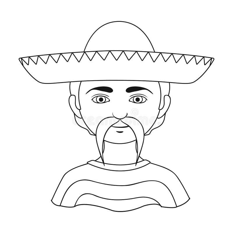 mexikanisch Einzelne Ikone der menschlichen Rasse im Entwurfsartvektorsymbolvorrat-Illustrationsnetz lizenzfreie abbildung
