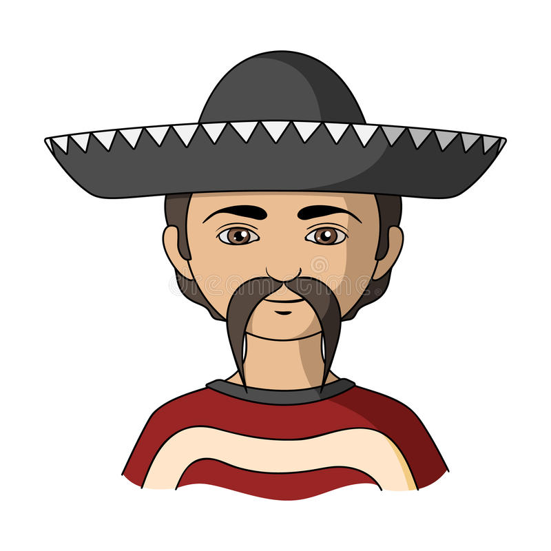 mexikanisch Einzelne Ikone der menschlichen Rasse im Karikaturartvektorsymbolvorrat-Illustrationsnetz stock abbildung