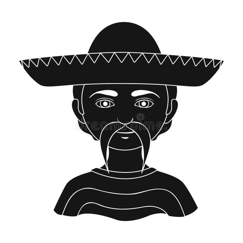 mexikanisch Einzelne Ikone der menschlichen Rasse im schwarzen Artvektorsymbolvorrat-Illustrationsnetz stock abbildung