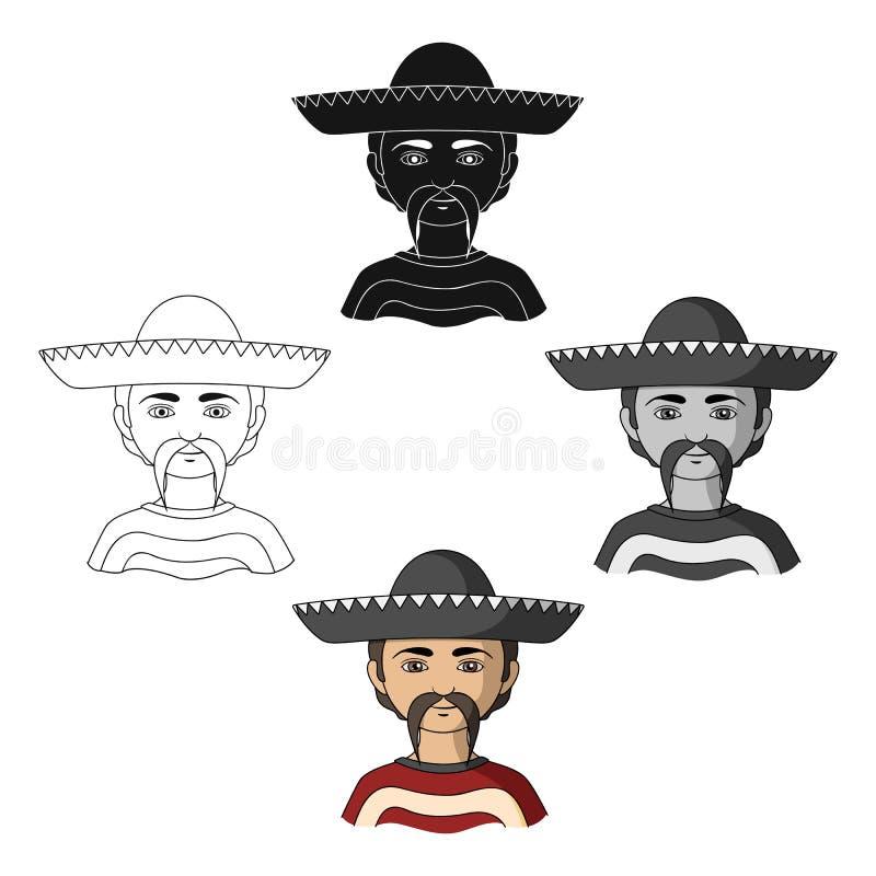 mexikanisch Einzelne Ikone der menschlichen Rasse in der Karikatur, schwarzes Artvektorsymbolvorrat-Illustrationsnetz stock abbildung