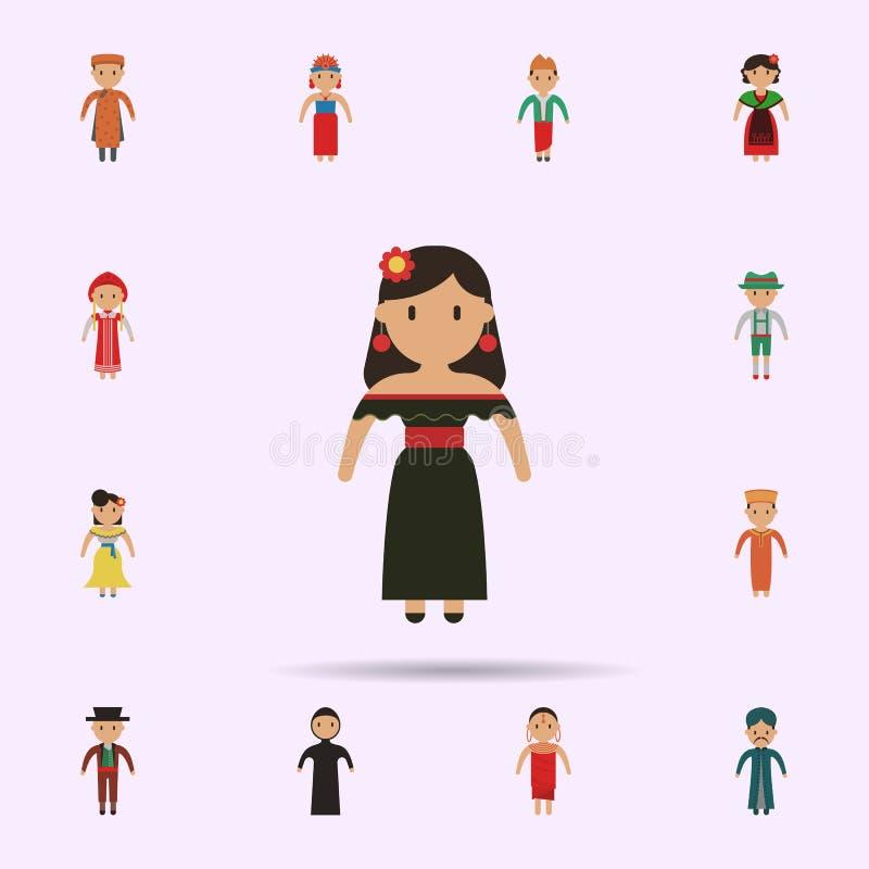 Mexikanisch, Frauenkarikaturikone Universalsatz Menschen in der ganzer Welt f?r Websiteentwurf und Entwicklung, Appentwicklung stock abbildung