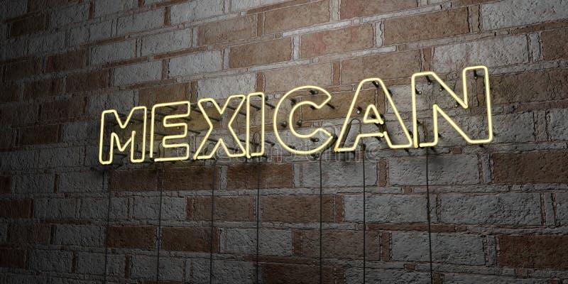 MEXIKANISCH - Glühende Leuchtreklame auf Steinmetzarbeitwand - 3D übertrug freie Illustration der Abgabe auf Lager lizenzfreie abbildung