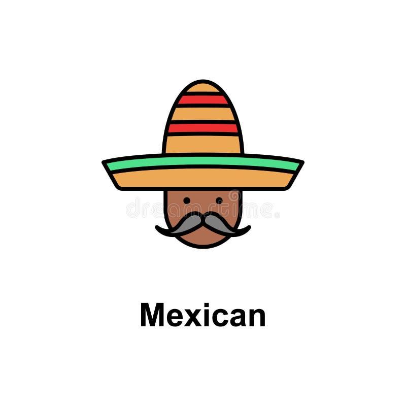 Mexikanisch, Mannikone Element der Cinco de Mayo-Farbikone Erstklassige Qualitätsgrafikdesignikone Zeichen und Symbolsammlungsiko lizenzfreie abbildung