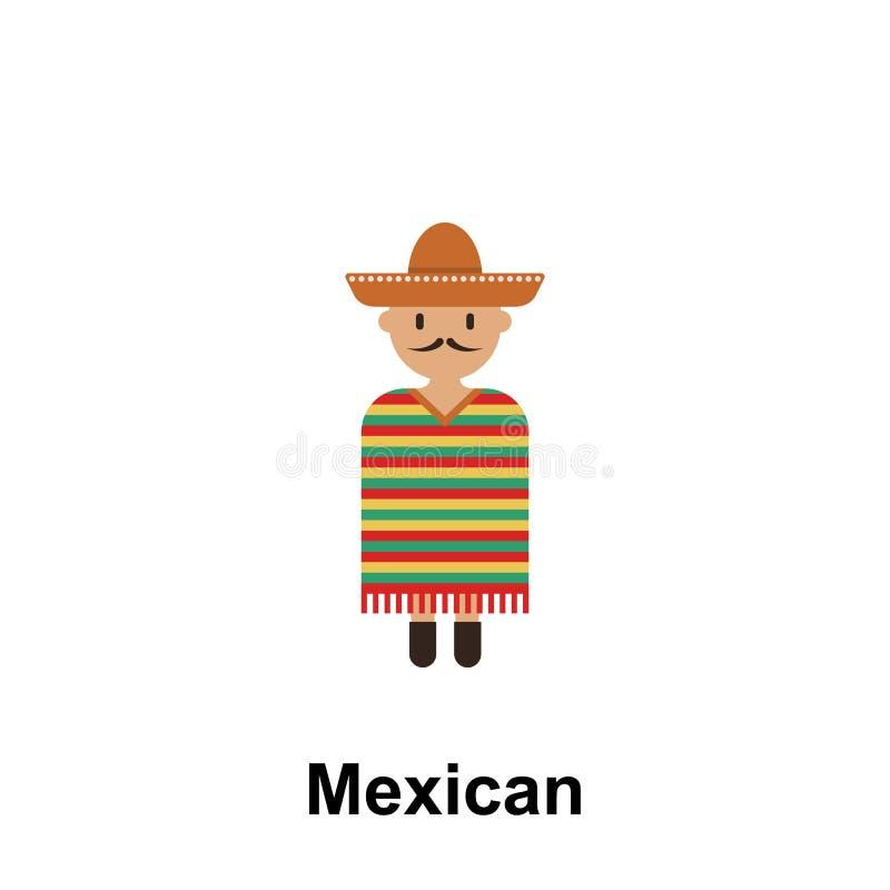 Mexikanisch, Mannkarikaturikone Element von Menschen in der ganzer Welt Farbikone Erstklassige Qualitätsgrafikdesignikone Zeichen lizenzfreie abbildung