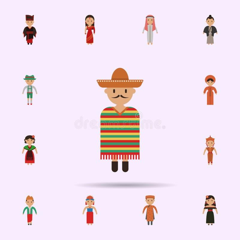 Mexikanisch, Mannkarikaturikone Universalsatz Menschen in der ganzer Welt f?r Websiteentwurf und Entwicklung, Appentwicklung lizenzfreie abbildung