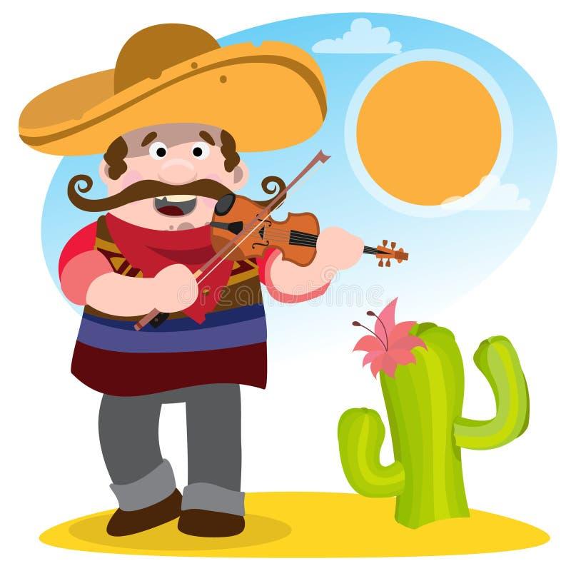 mexikanisch Mariachi im Sombrero und mit einer Violine stock abbildung