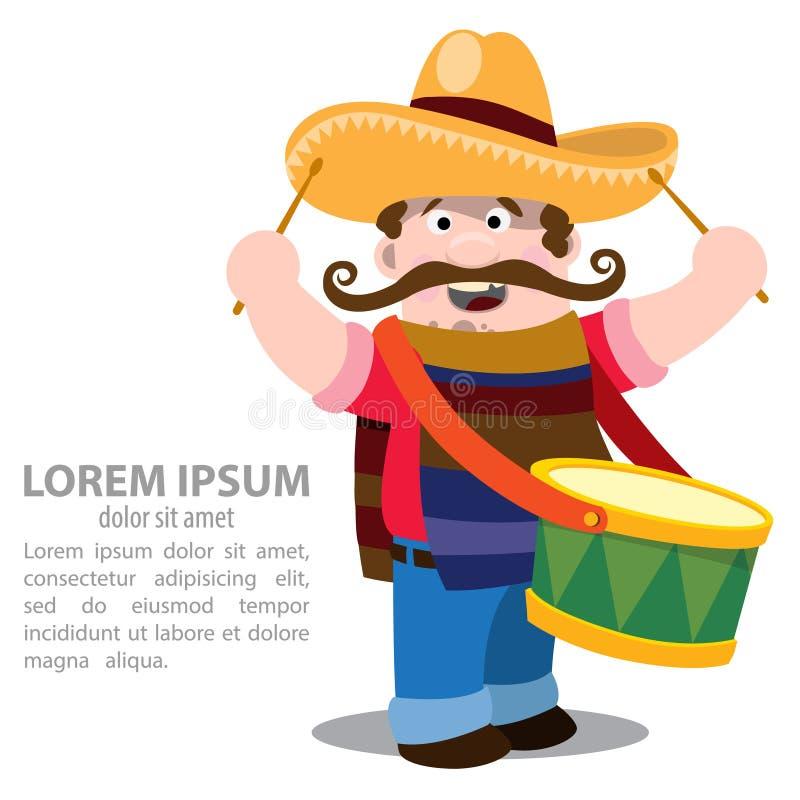 mexikanisch Mariachi im Sombrero und mit Trommel lizenzfreie abbildung