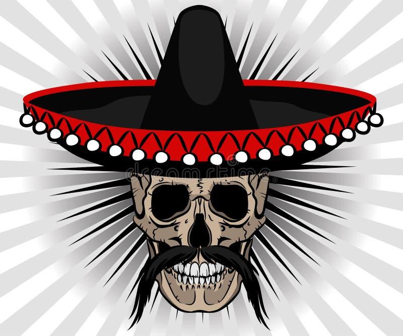 Mexikanische Art des Schädels mit Sombrero und dem Schnurrbart lizenzfreie abbildung