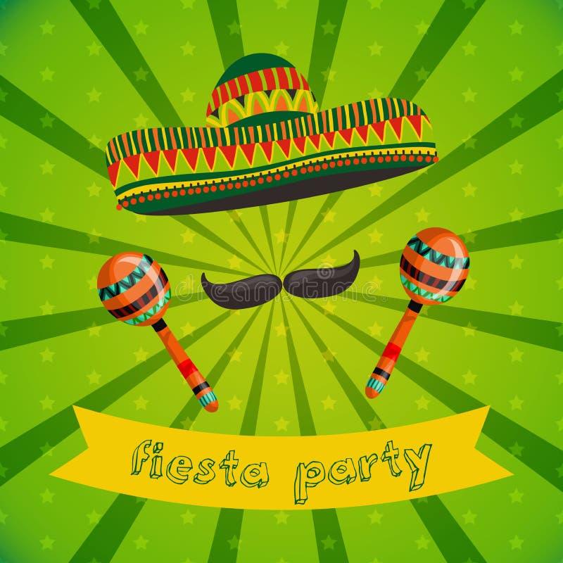 Mexikanische Fiesta-Partei-Einladung mit maracas, Sombrero und dem Schnurrbart Hand gezeichnete vektorabbildung vektor abbildung