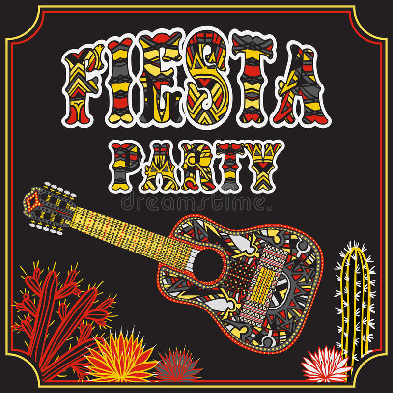 Mexikanische Fiesta-Partei-Einladung mit mexikanischer Gitarre, Kakteen und buntem ethnischem Stammes- aufwändigem Titel Hand gez stock abbildung