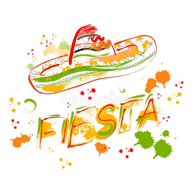 Mexikanische Fiesta-Partei-Einladung mit Sombrero Hand gezeichnetes Vektorillustrationsplakat lizenzfreie abbildung