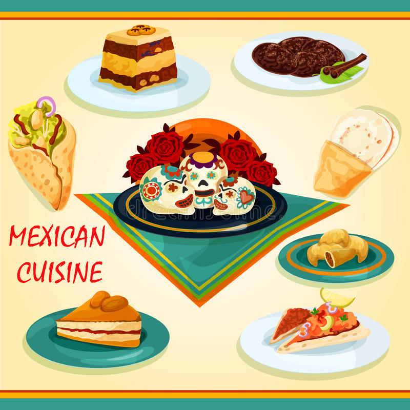 Mexikanische Küchesandwich- und -nachtischikone lizenzfreie abbildung