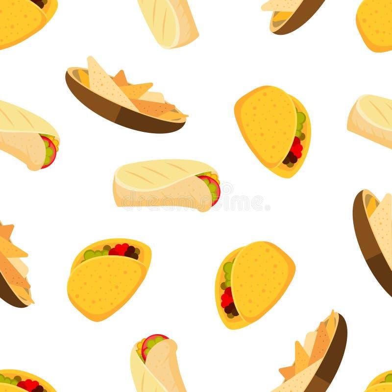 Mexikanische Lebensmitteltacos Burrito und Nachos vector nahtlosen Hintergrund stock abbildung