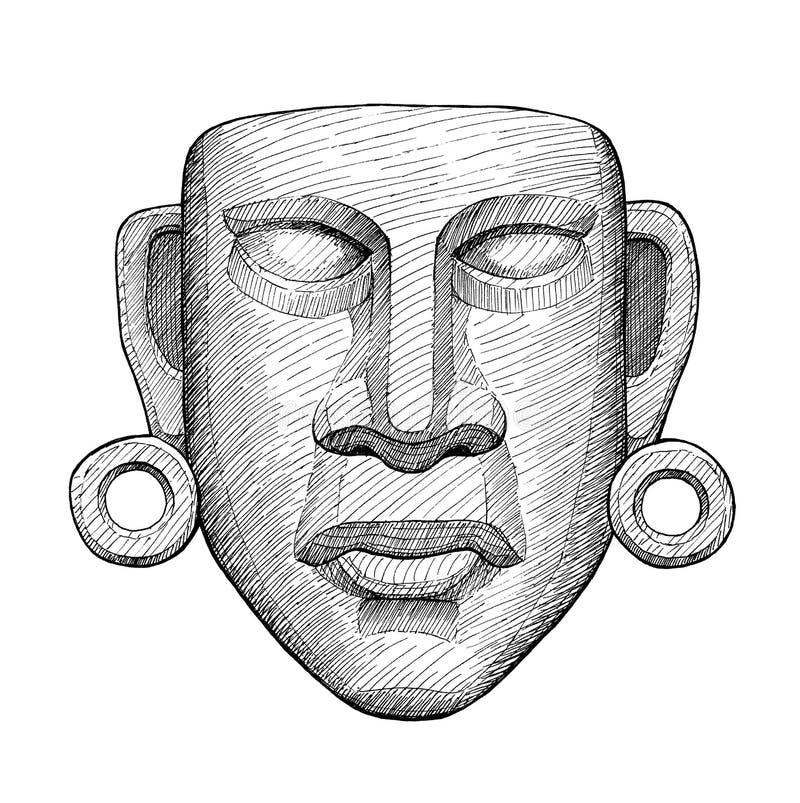 Mexikanische Maske der alten Jade, Weinlesehandzeichnung lizenzfreie abbildung