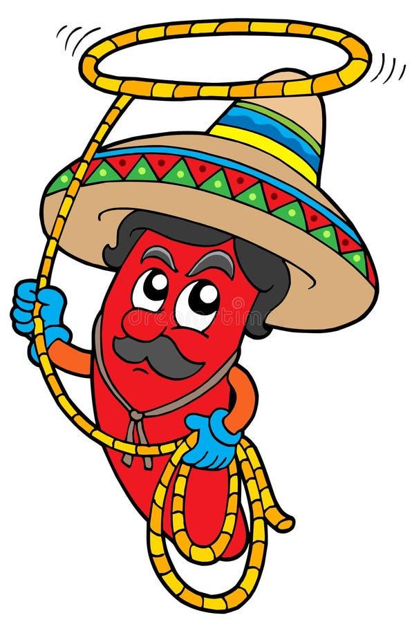 Mexikanische Paprikas der Karikatur mit Lasso lizenzfreie abbildung