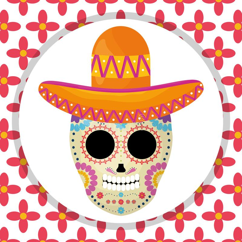 Mexikanische Sch?delTotenmaske mit Mariachihut im Blumenhintergrund lizenzfreie abbildung