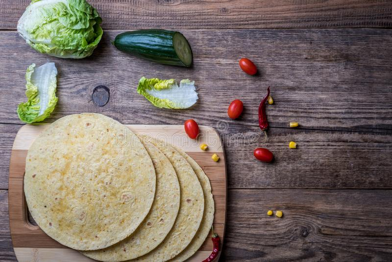Mexikanische Tortilla-Verpackung stockbilder