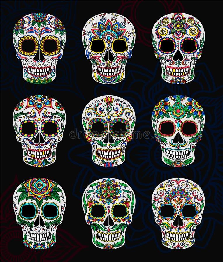 Mexikanische Zuckerschädel mit Blumenmustersatz, Tag der toten Vektor Illustration lizenzfreie abbildung