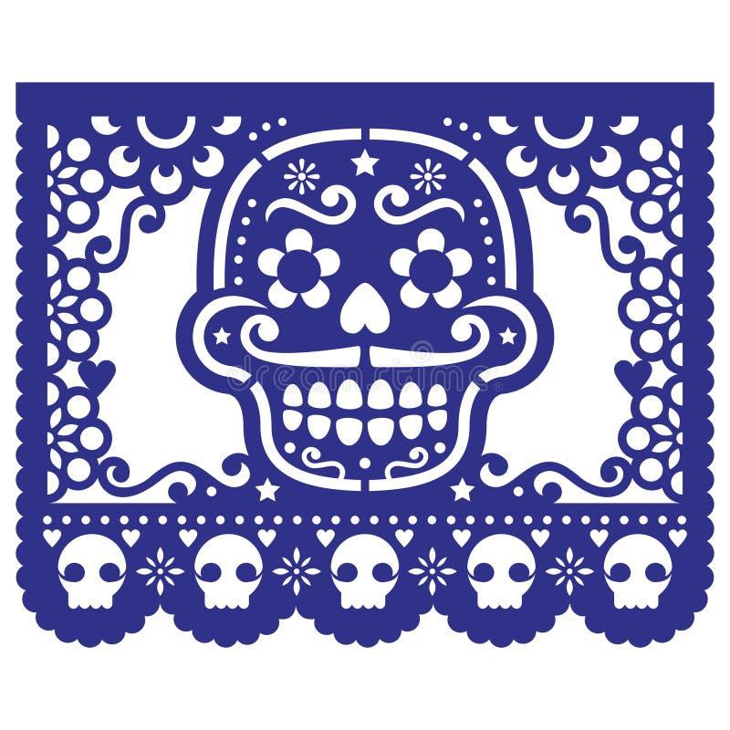 Mexikanische Zuckerschädel-Papierdekorationen - Design Papel Picado für Halloween, Dia de Los Muertos, Tag der Toten lizenzfreie abbildung