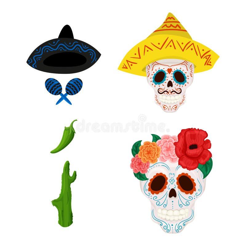 Mexikanische Zuckerschädelillustration und -gegenstände für Cinco de Mayo vektor abbildung