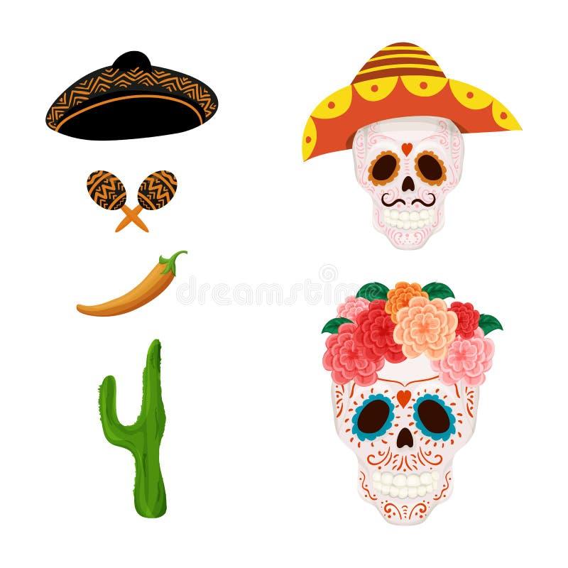 Mexikanische Zuckerschädelillustration und -gegenstände für Cinco de Mayo stock abbildung