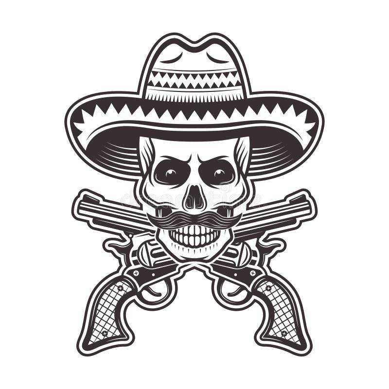 Mexikanischer Banditschädel in der Sombrerohutillustration lizenzfreie abbildung