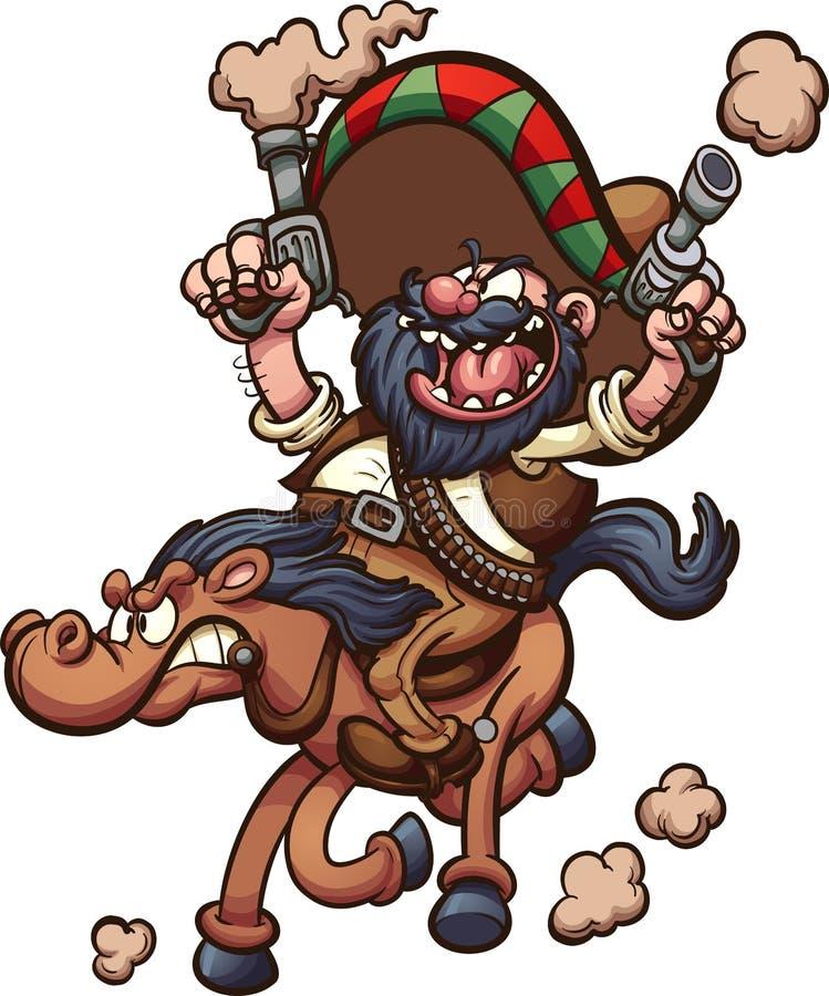 Mexikanischer Cowboy, der ein Pferd reitet vektor abbildung