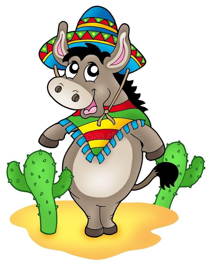 Mexikanischer Esel mit Kakteen lizenzfreie abbildung