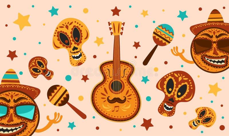 Mexikanischer Feiertag Cinco de Mayo Vector Schablone mit traditionellen mexikanischen Symbolen Schädel, Gitarre, Mexikaner Marac vektor abbildung