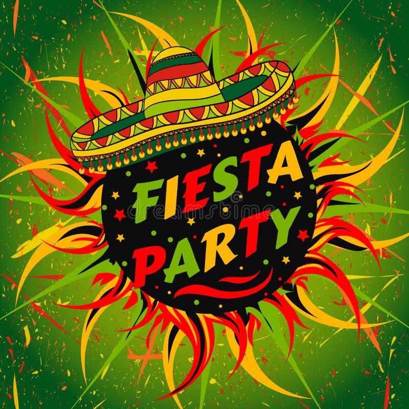Mexikanischer Fiesta-Parteiaufkleber mit Sombrero und Konfettis Übergeben Sie gezogenes Vektorillustrationsplakat mit Schmutzhint vektor abbildung