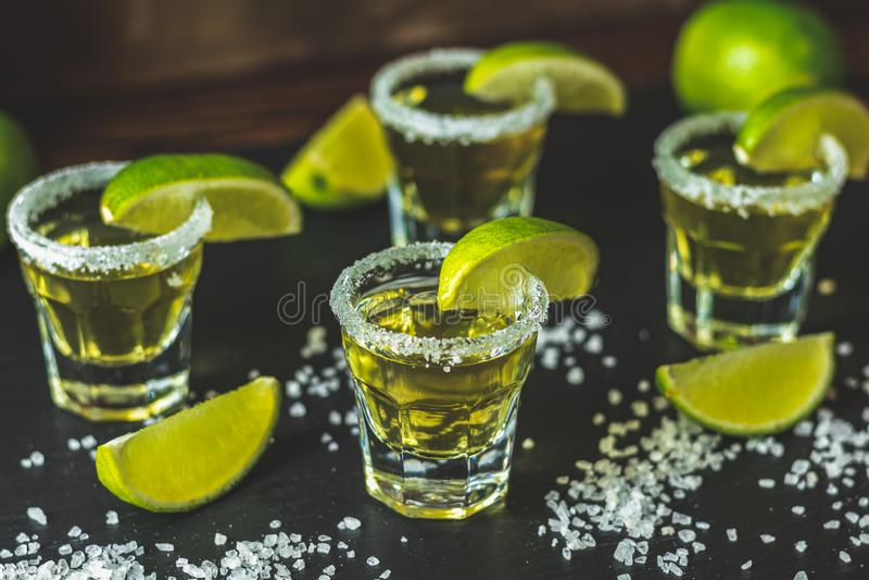 Mexikanischer Goldtequila geschossen mit Kalk und Salz stockfotografie