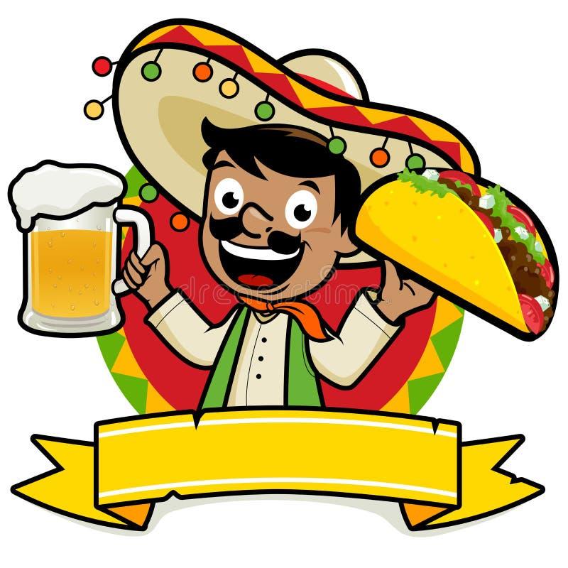 Mexikanischer Mann, der ein kaltes Bier und einen Taco hält