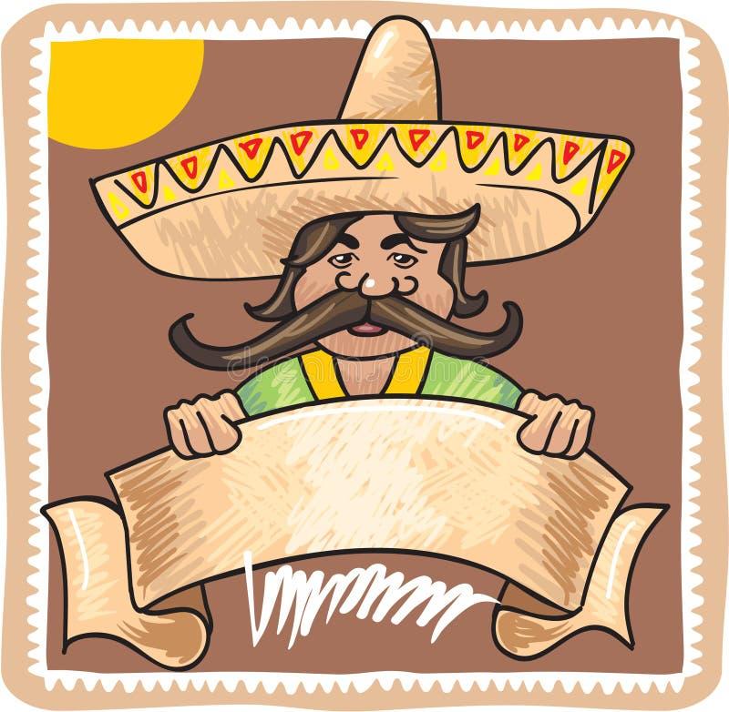 Mexikanischer Mann mit Schablonen-Zeichen-Fahne vektor abbildung