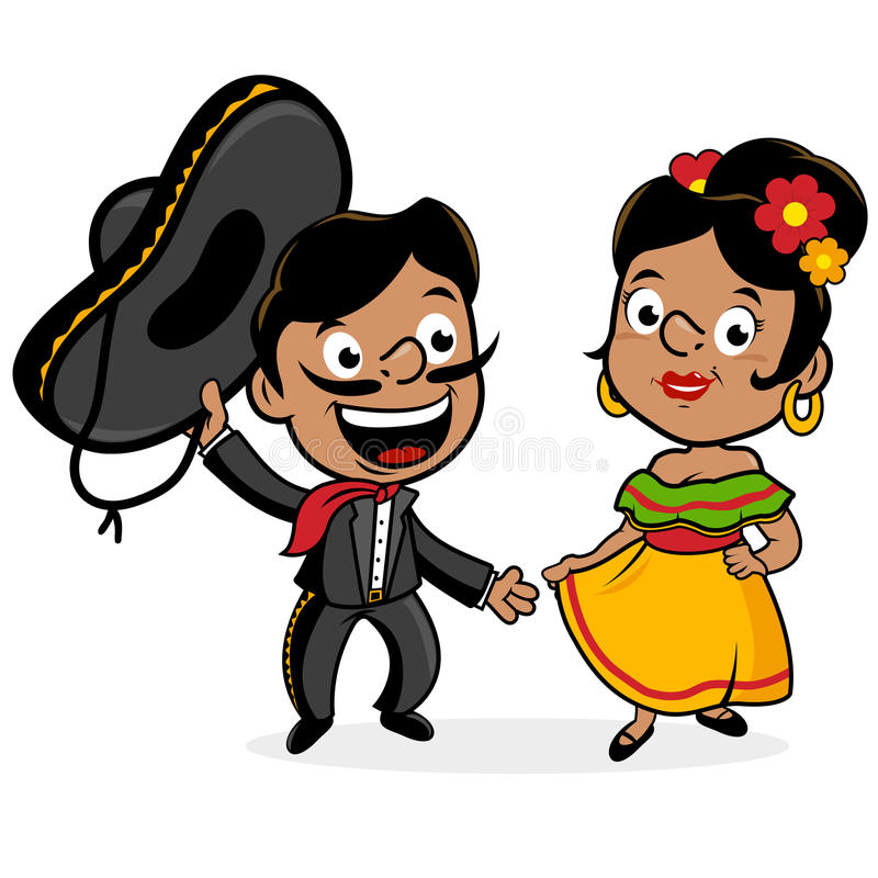 Mexikanischer Mariachi bemannen und Frau lizenzfreie abbildung