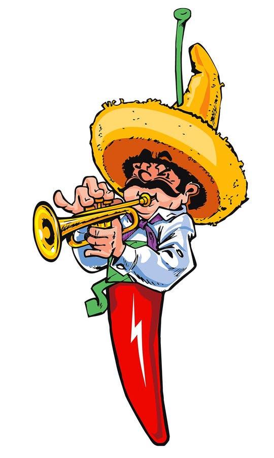 Mexikanischer Paprikamusikspieler stock abbildung