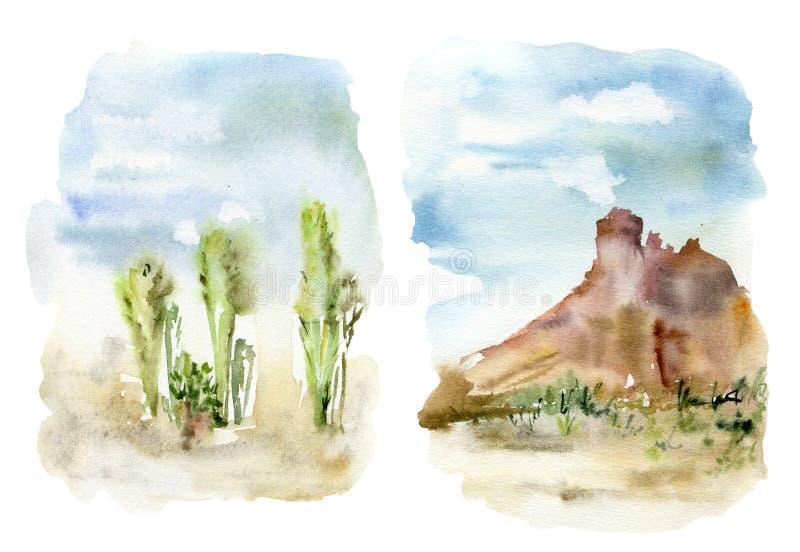 Mexikanischer Satz des Aquarells Landschafts Handgemalte Karte mit Wüstenkaktus, -himmel, -wolken und -berg botanisch stock abbildung