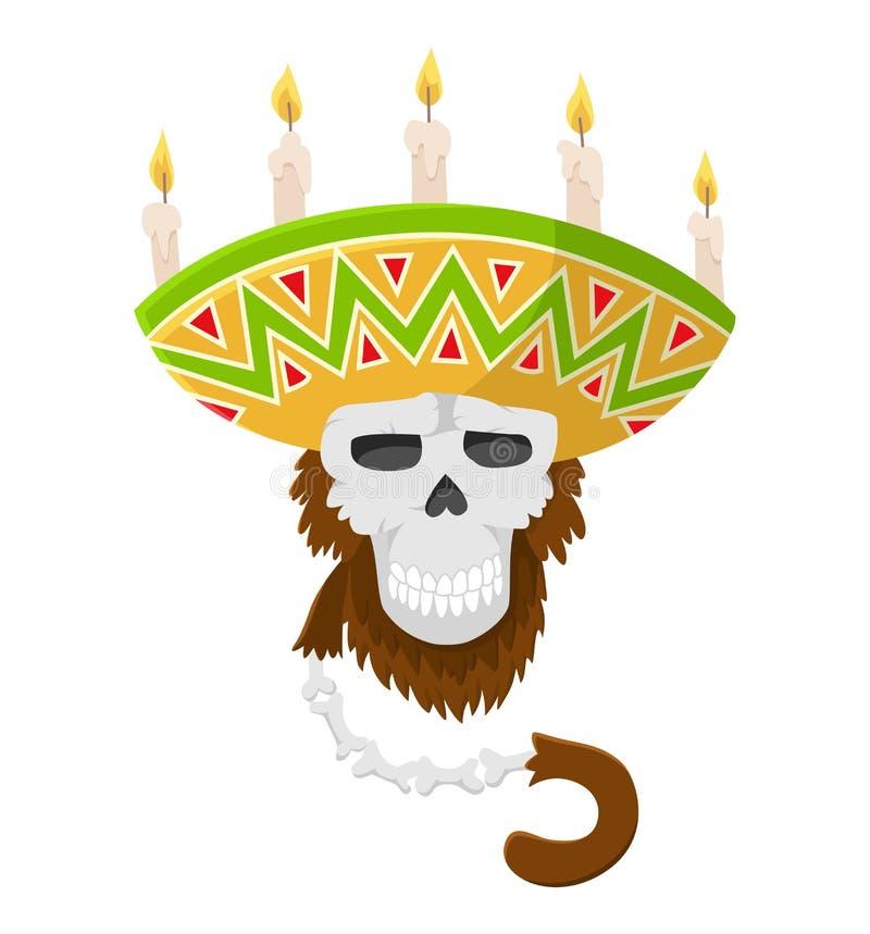 Mexikanischer Schädelaffe im Sombrero mit Kerzen Gorillaaffeschädel, farbiger Vektor Primaslogo lizenzfreie abbildung