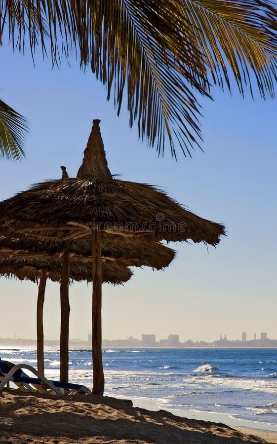 Mexikanischer Strand mit Palmen und Thatched Regenschirmen lizenzfreies stockfoto