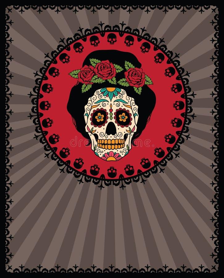 Mexikanischer Zuckerschädel stock abbildung