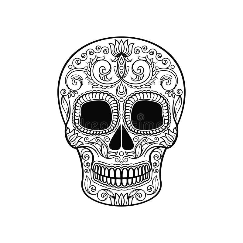 Mexikanischer Zuckerschädel mit Blumenmuster, Dia de Muertos-Schwarzweiss-Vektor Illustration lizenzfreie abbildung