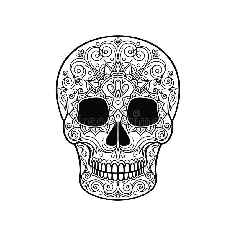 Mexikanischer Zuckerschädel mit Blumenmuster, Tag der Todesschwarzweiss-Vektor Illustration vektor abbildung