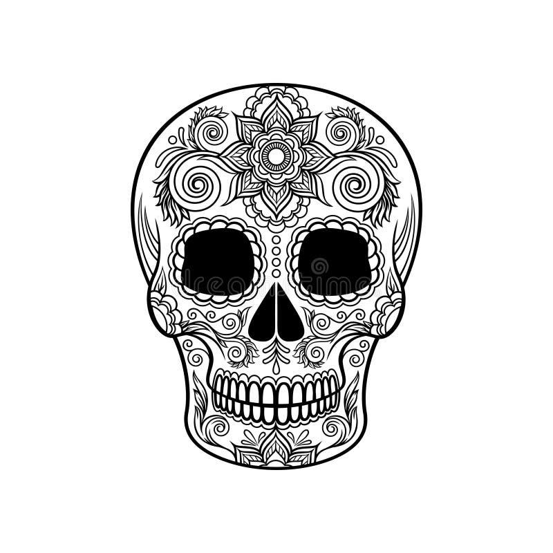 Mexikanischer Zuckerschädel mit Blumenverzierung, Tag der Todesschwarzweiss-Vektor Illustration stock abbildung