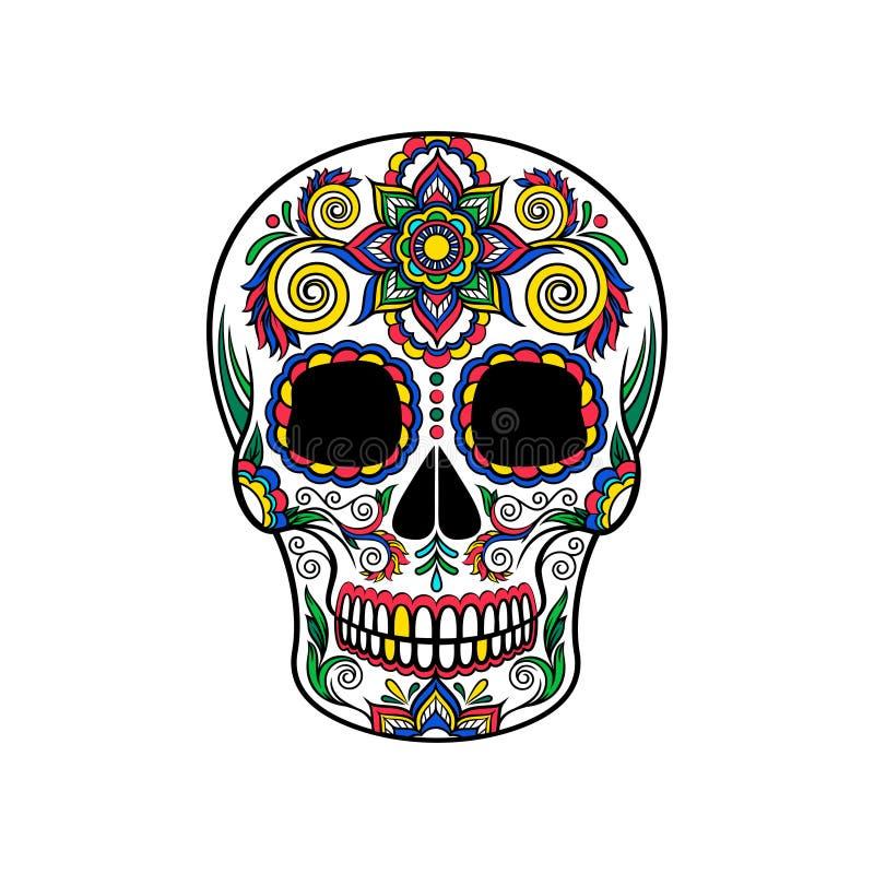 Mexikanischer Zuckerschädel mit Blumenverzierung, Tag der Todesvektor Illustration lizenzfreie abbildung