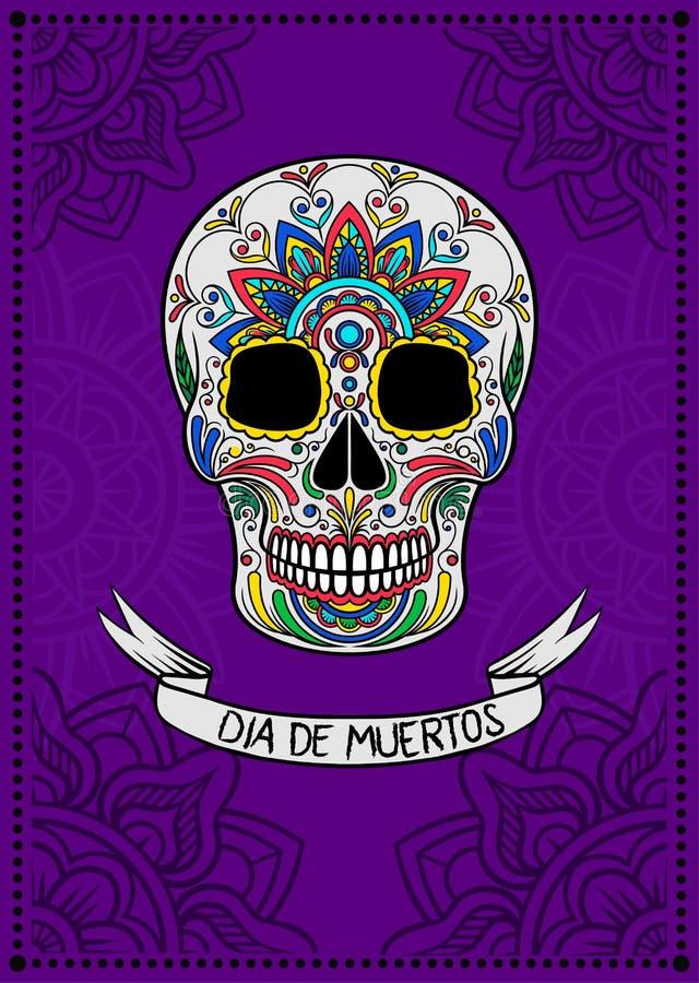 Mexikanischer Zuckerschädel mit buntem Blumenmuster, Dia de Muertos, Gestaltungselement für Plakat, Grußkartenvektor lizenzfreie abbildung