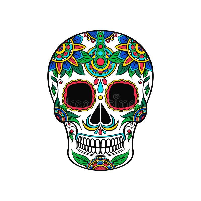 Mexikanischer Zuckerschädel mit buntem Blumenmuster, Tag der Todesvektor Illustration lizenzfreie abbildung