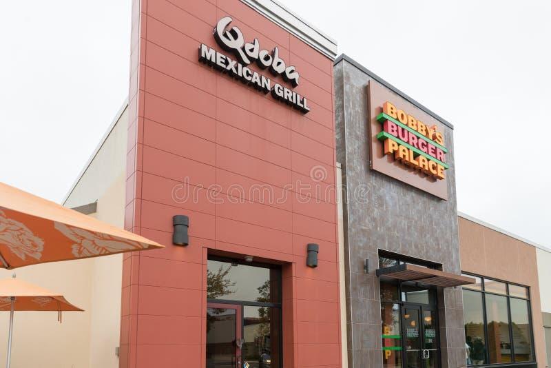 Mexikanisches Grilläußeres und -logo Qdoba lizenzfreie stockfotografie