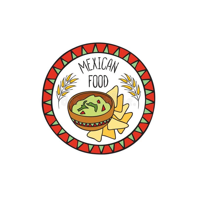 Mexikanisches Guacamolelebensmittel-Gekritzelsymbol Zeichen der runden Form Fastfoodikone vektor abbildung