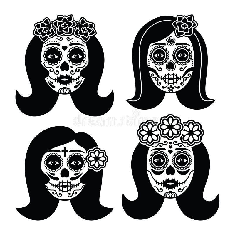 Mexikanisches La Catrina - Tag des toten Mädchenschädels lizenzfreie abbildung