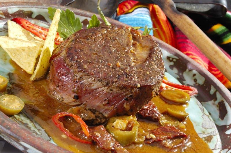 Mexikanisches Spezialität Beefsteak Mexicano stockbild